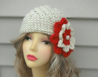 Crochet womens Hat  Ladies Flower Hat Crochet Beanie for Girls Winter Womens Hat Winter Accessories Hair Accessories