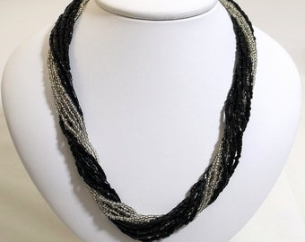 Black and Clear Seed Bead Torsade Necklace