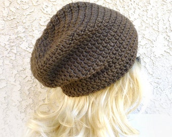Taupe Beanie Slouchy Beanie Hat - 3 Custom Sizes - Greyish Brown Crochet Slouch Hat Baggy hat Mens Womens fall winter accessories