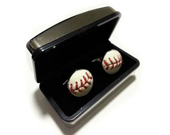 Baseball Cufflinks - Handmade Cuff Links Using a Real Baseball 2016 SALE