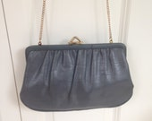 vintage hipster 1960s grey clutch purse handbag with goldtone chain, 60s