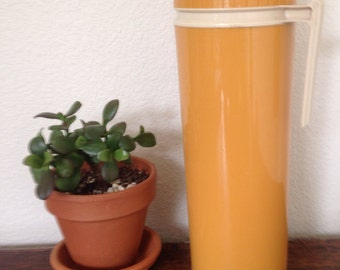 vintage golden wheat tall thermos, hot or cold, retro kitchen decor, thermos bottle, hipster kitchen