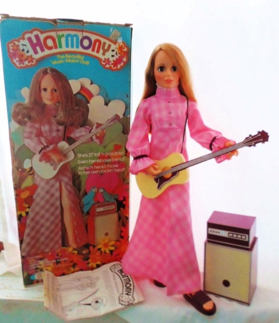 """Vintage 1972 Ideal Harmony Doll, Original Box, The Beautiful Music Makin Doll, 21"""" tall, Guitar & Amplifier Included, Original Clothes"""