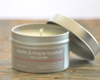 Apples & Maple Bourbon Soy Candle Tin 4 oz. - fall soy candle - food soy candle - apple soy candle - maple soy candle - holiday soy candle