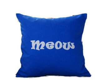 "18""x18""  'Meow'  Royal Blue Pillow COVER"