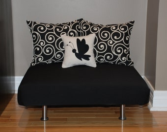 """24""""x24"""" Cream & Black Upholstered Pet Bed / Cat Bed / Small Dog Bed /// Pet Lounger with Pillows"""