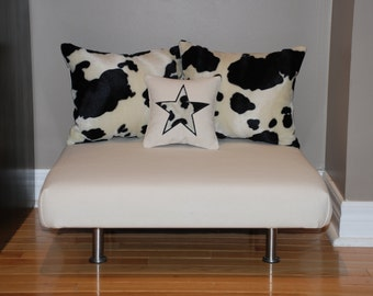 """24""""x24"""" Cream Denim Upholstered Pet Bed / Cat Bed / Small Dog Bed /// Pet Lounger with Cowhide Faux Fur Pillows"""