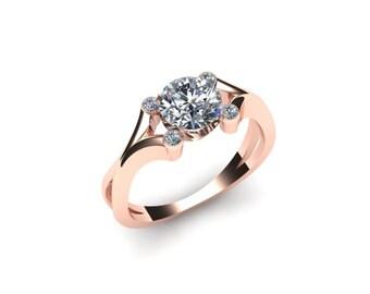 Split Shank Diamond Engagement Ring 14K Gold