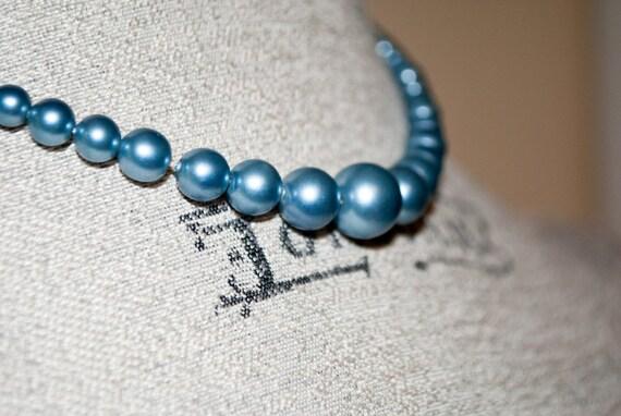 Vintage Blue Pearl Necklace