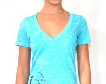 Women's Seahorse Burnout T-Shirt. Very soft lightweight and thin.