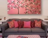 2x4 ft Acrylic Painting 3D impasto abstract flowers pink & gray grey theme on 24x48 canvas
