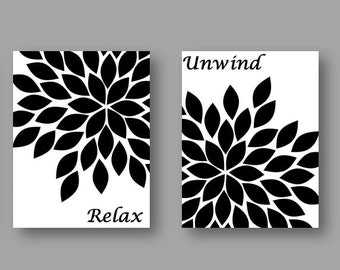 Set Of FOUR 8x10 Art Prints Black White Abstract Gerbera Daisies Flower Soak Relax Unwind