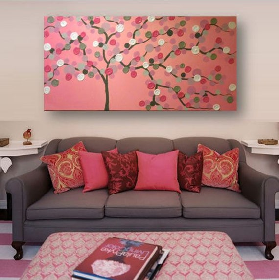 2x4 ft Acrylic Painting 3D impasto abstract flowers pink &