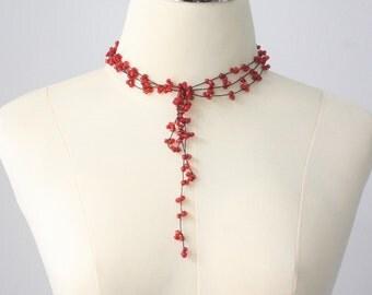 Clear Red Bead Handmade Necklace in Thailand FAIR Trade Wax Cotton String (N412-R)
