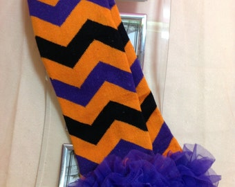 HALLOWEEN Leg Warmers, Orange, Black and Purple Chevron Print Leg Warmer with a Purple Ruffle, Infant, Baby, Toddler, Preteen, Arm Warmers