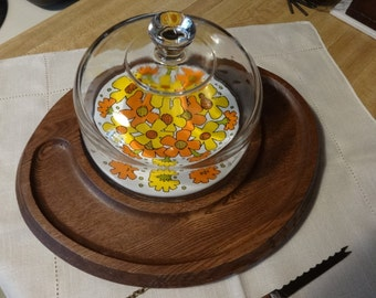 Cheese Cutting Board with Glass Dome, Wood Cracker Serving Platter with Knife, 1970s Flower Power, Buffet Party Ware, Orange and Yellow