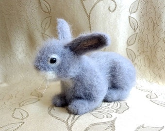 Woolen Sculpture OOAK - Needle Felt Figurine - Gray Bunny Rabbit