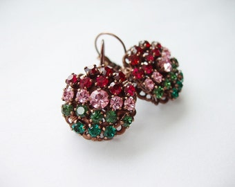 Multicolor Rhinestone Earrings. Vintage Style Earrings. Anniversary Gifts. Rhinestone Jewelry in Romantic Victorian Style. Gift Ideas