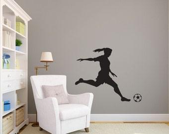 Girl Soccer Player Kicking Silhouette Sports - Wall Decal Custom Vinyl Art Stickers