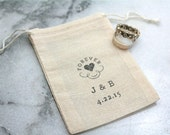 Personalized wedding ring bag.  Rustic muslin ring bag, ring bearer accessory. Ring warming bag.  Forever heart with initials and date.