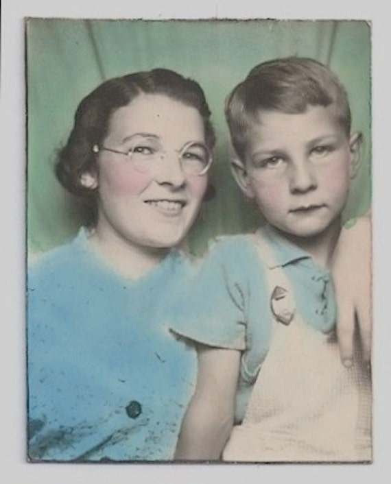 old color photo booth photo mother and son overalls glasses. Black Bedroom Furniture Sets. Home Design Ideas