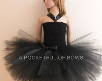 Black Flower Girl Dress, Girls Formal Dresses, Black Tutu Dress