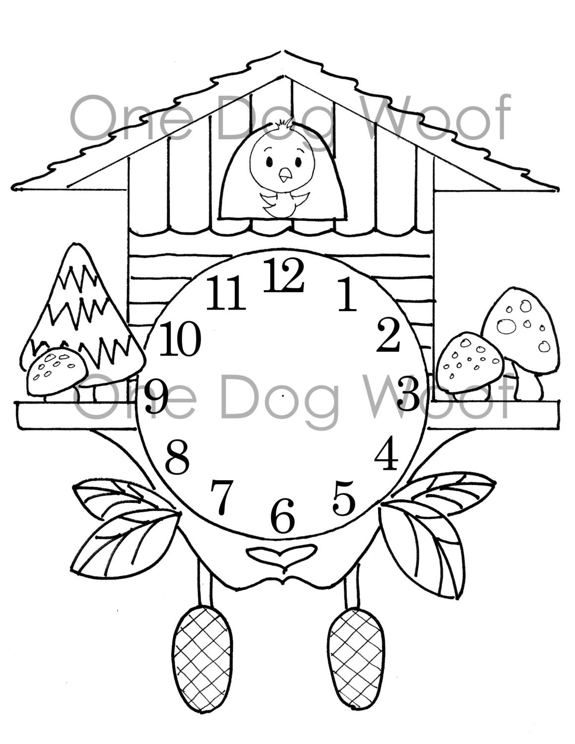 Create Your Own Cuckoo Clock Digital Print Coloring Page