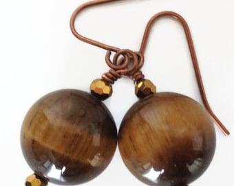 Tiger Eye Earrings, Tiger Eye Drop Earrings, Tigers Eye Earrings, Tiger Eye Jewelry, Tigers Eye Jewelry, Brown Stone Earring, Brown Earring