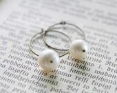 Pearl Earrings Antique Brass Hoop Earrings