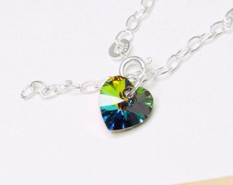 Swarovski Heart Bracelet, Vitrail Swarovski Heart Charm Bracelet, Simple Sterling Silver Bracelet, Green and Purple Heart Bracelet