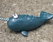 Teal Narwhal Figurine
