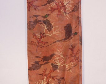 Silk Scarf, Pheasants and Leaves on rust silk mesh with fringe.  Wildlife art to wear.