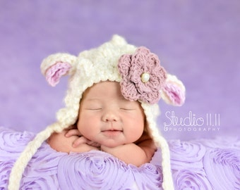 Lamb Bonnet baby girl or boy,Easter baby hat, easter photo props  with removable flower-Off white Cream Dusty Pink-Spring prop,pixie hat