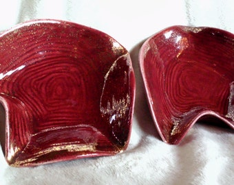 Set of two vintage YONA dishes, deep red with gold splatter