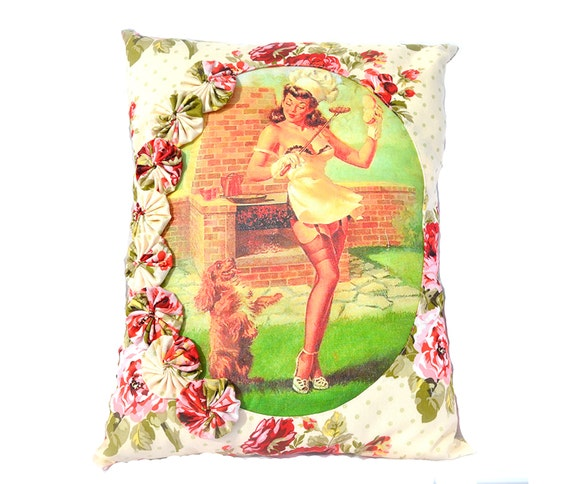RESERVE for Heather Be a Good Boy Pillow Mid Century Barbecue Picnic Housewife Decor with Rosettes, Retro Chic Pin Up Girl, and Puppy Dog
