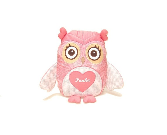 Owl Pillow, Custom Baby Pillow, Eco Friendly Stuffed Toy