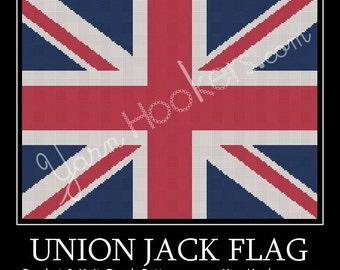 Union Jack - British Flag - UK National Flag - Afghan Crochet Graph Pattern Chart - Instant Download