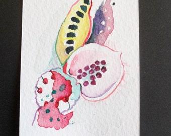 Original miniature art, Nature inspired  abstract art in watercolors