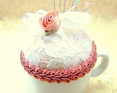 CLEARANCE Needlecraft pincushion shabby cottage chic Victorian china demitasse cup peachy pink lace OOAK teaberry ribbon rose tagt tagtteam