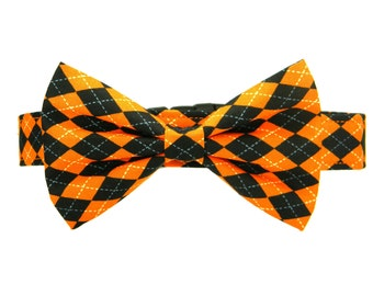 Halloween Bow Tie Dog Collar, Black Orange Dog Collar Bow Tie, Bowtie Collar: Halloween Argyle