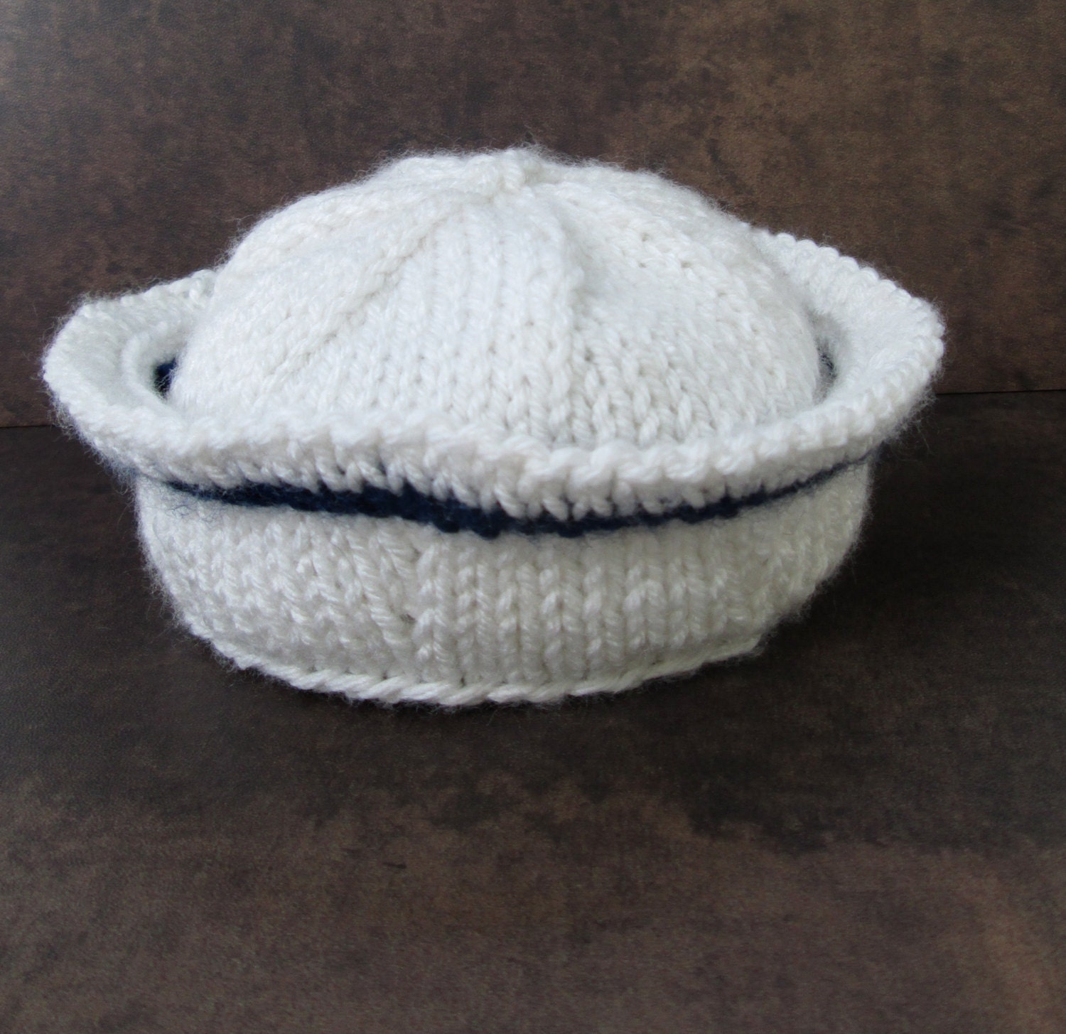 Free Knitting Pattern Baby Sailor Hat : Newborn Sailor Hat Ready to Ship Photo Prop Newborn Knitted