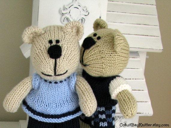 Knitting Patterns Teddy Bear Stuffed Animals : Hand Knitted Stuffed Bears Handmade Stuffed Animal Couples