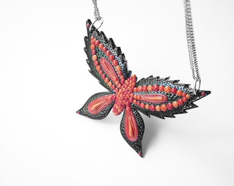 "Art Jewelry / butterfly pendant, red black butterfly, polymer clay, OOAK / ""Dance Like the Butterfly"" /"