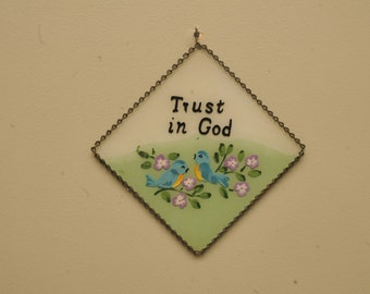 Vintage 1950s Christian Painting Trust in God Glass Chain Frame Bluebirds