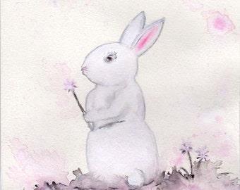 Rabbit Nursery Art Whimsical Bunny Print Watercolour Rabbit White Rabbit Artwork Rabbit Illustration