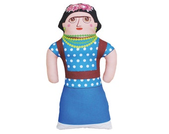 LARGE - Frida Kahlo Doll - Famous Artist - Handmade Soft Art Cloth Doll - LIMITED EDITION
