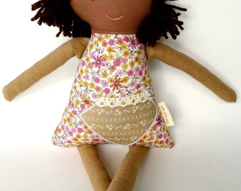 Handmade Rag Waldorf Doll, African American, Brown Skin, Cloth Doll, Personalized, Millie