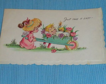 Antique 1950s Eve Rockwell Unused Birthday Greeting Card by Cheerie Cherubs