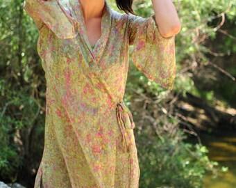 Chiffon Dress, Wrap Dress, Sheer Dress, Kimono Dress, Green Dress, Robe Dress in Green Hand-Painted Sheer Silk Chiffon w/Pink, MadeToOrder