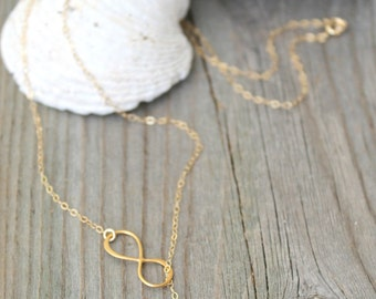 Delicate All 14k gold filled Sideway Infinity lariat Necklace with initial custom stamped disc, personalized monogram letter bridesmaids